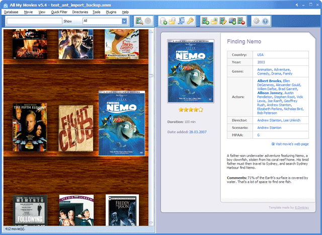All My Movies main window virtual shelf snapshot