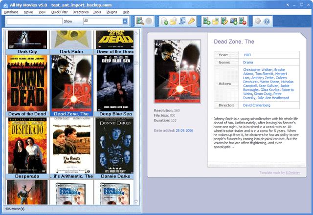 All My Movies main window snapshot - thumbnails view mode