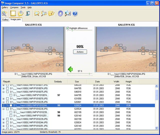 Image Comparer main window snapshot
