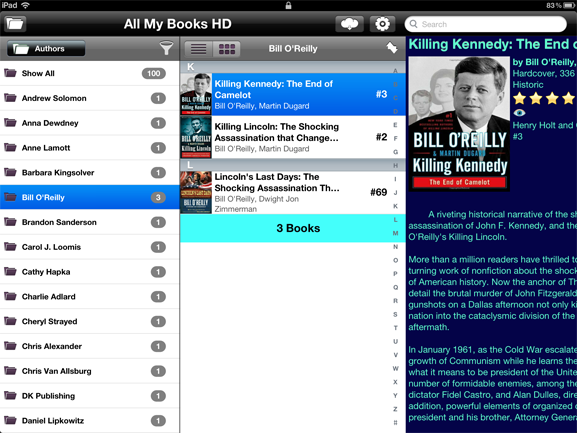 Экран All My Books HD для iPad