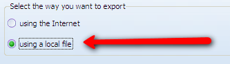 export wizard - using a file
