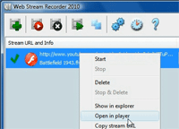 Web Stream Recorder screen